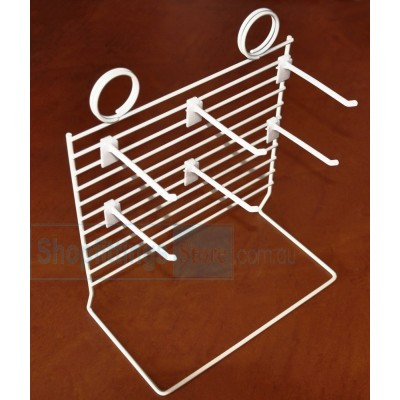 Counter mesh stand with hooks white