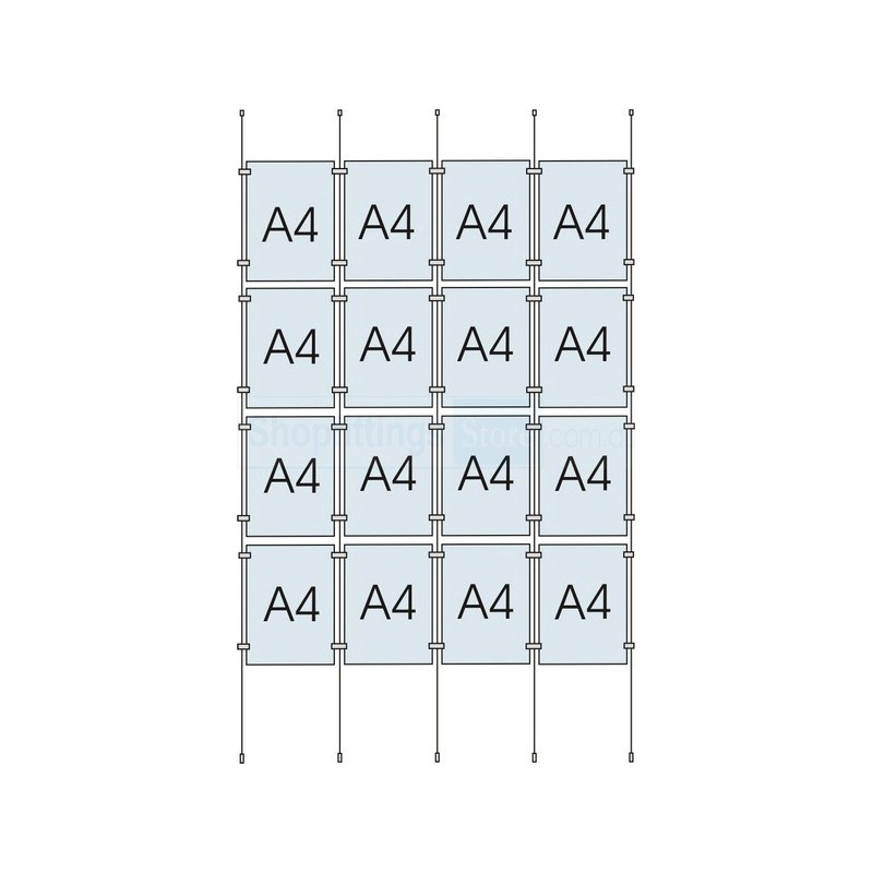 Cable Display Kit 16x A4 Sign Holder Portrait