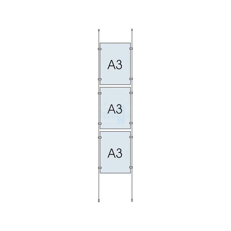 Cable Display Kit 3x A3 Sign Holder Portrait