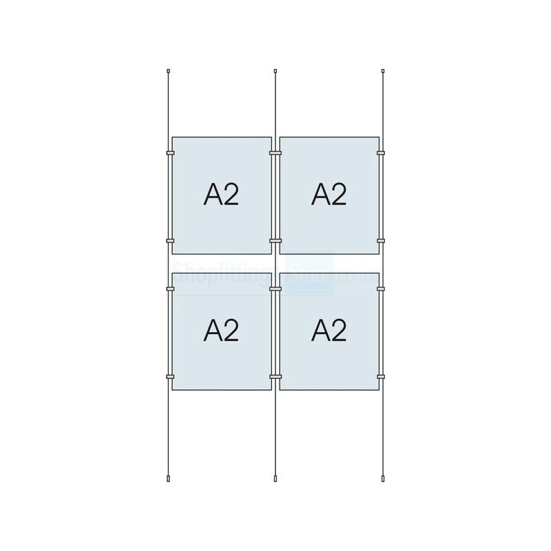 Cable Display Kit 4x A2 Sign Holder Portrait