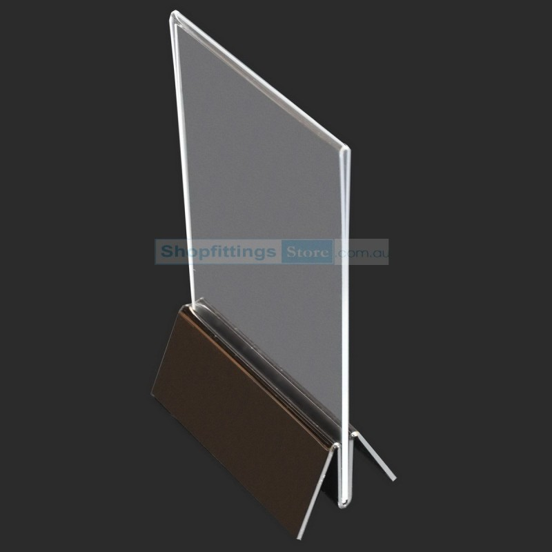 Acrylic Stand Up Sign Holder Portrait with Base