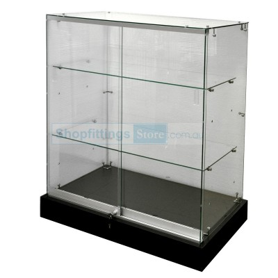 Frameless Glass Showcase Display Black