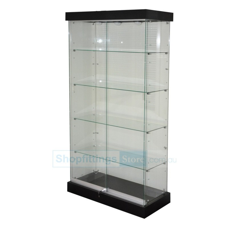 Frameless Glass Showcase Display Black With 3 LED down lights