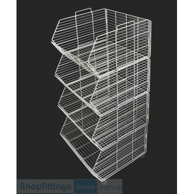 Stacking wire basket stand on wheels