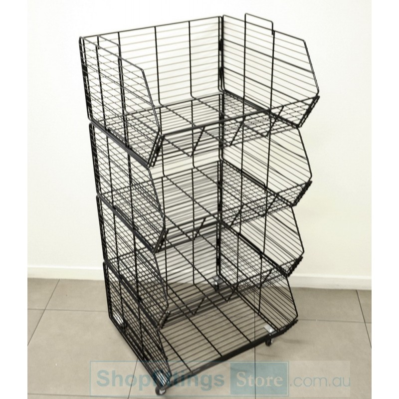 Wire Basket On Wheels | Stacking Wire Basket Stand On Wheels White