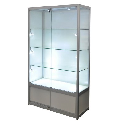 Display Glass ShowCase Framed Trophy with Storage and LED Lighting