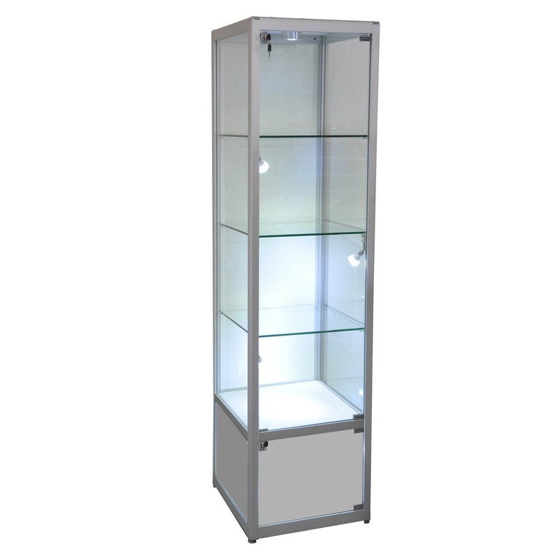 Display Glass Tower ShowCase Framed Trophy with Storage and LED Lighting