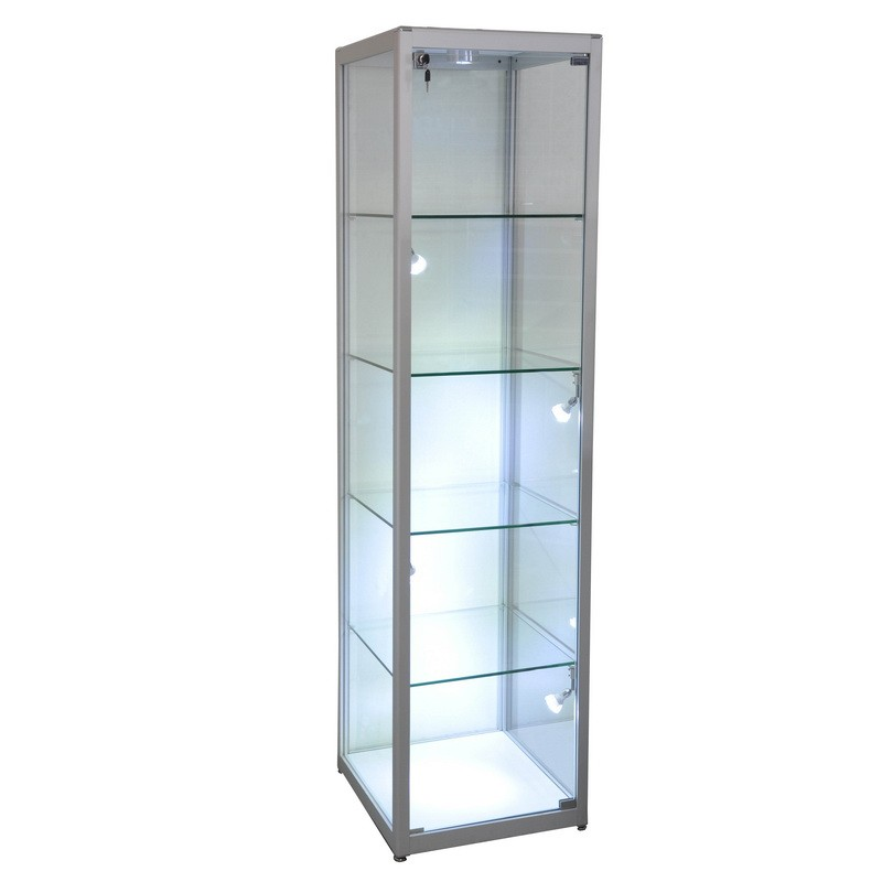 Display Glass Tower ShowCase Framed Trophy with LED Lighting