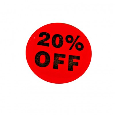 """20% OFF"" Sale Stickers - 500pcs/roll"