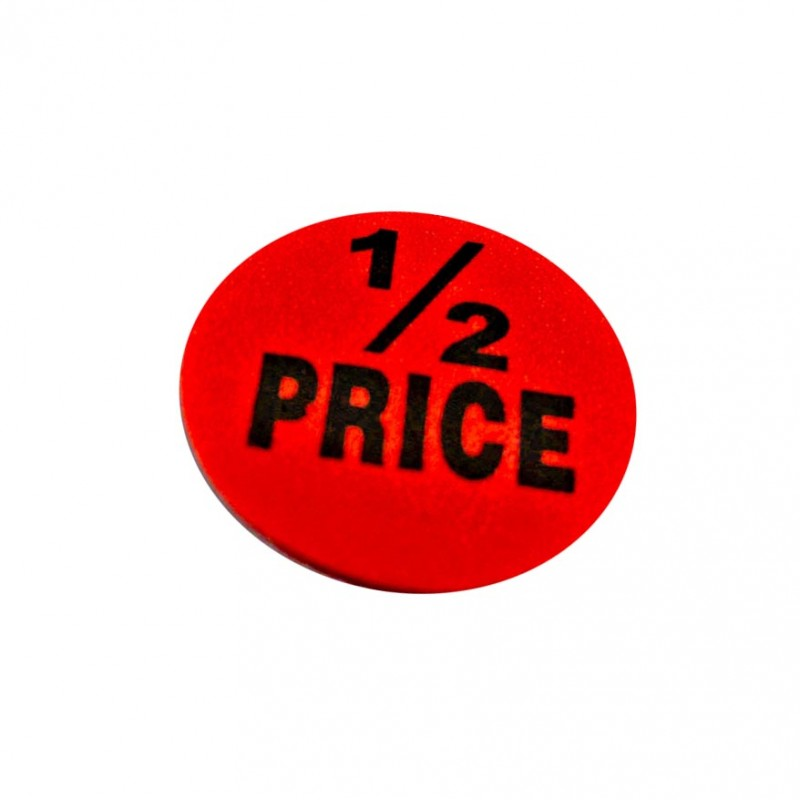 """1/2 Price"" Sale Stickers - 500pcs/roll"