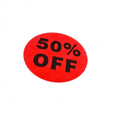"""50% Off"" Sale Stickers - 500pcs/roll"