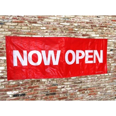 """NOW OPEN"" PVC Banner (incl. rope)"