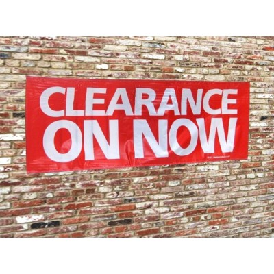"""CLEARANCE ON NOW"" - PVC Sale Banner (incl. ropes)"
