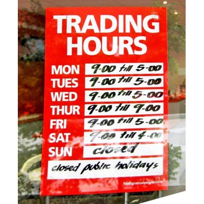 """TRADING HOURS"" Sign - A5"
