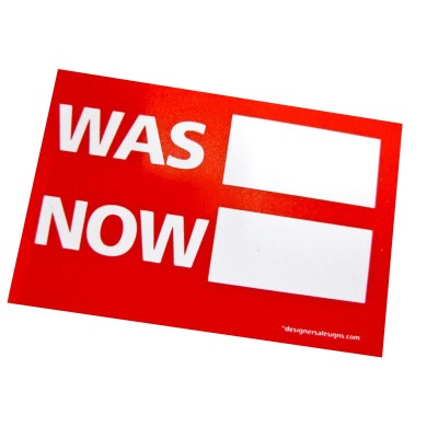 """WAS/NOW"" Stickers - 100pcs roll"