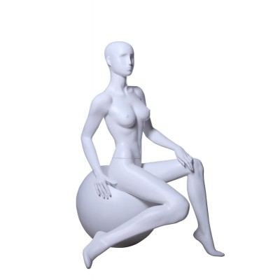 Female Abstract Sitting Mannequin ROS4 White MAT