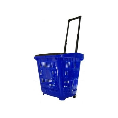Roller Plastic Shopping Basket 30L Blue