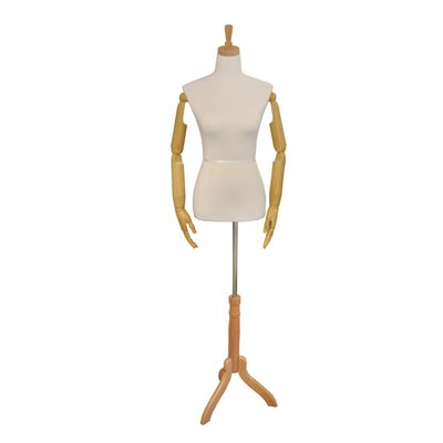 Female Fabric Torso Premium With Wooden Arms and Base