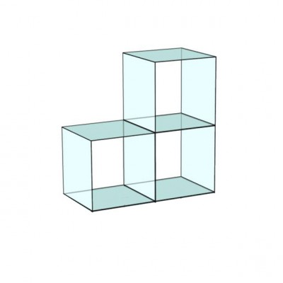 Cube 3 Stepped Glass Display