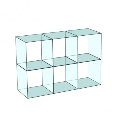 Cube 6 Glass Display 3 wide x 2 high