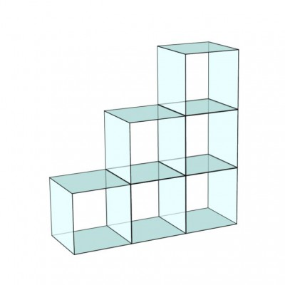 Cube 6 Stepped Glass Display
