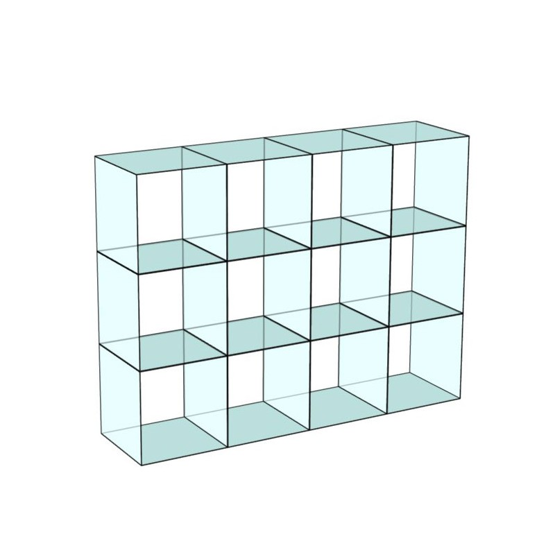 Cube 12 Glass Display 4 wide 3 high