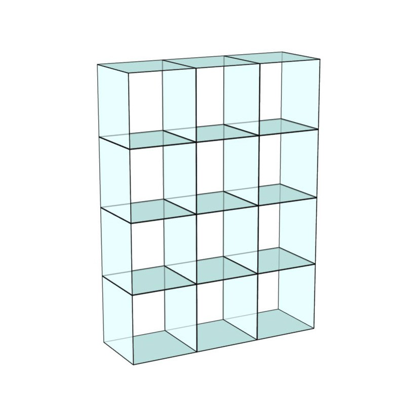 Cube 12 Glass Display 3 wide x 4 high