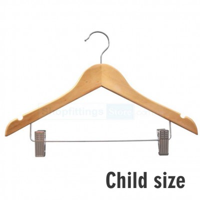 Child Wood Shirt Hanger with Clips