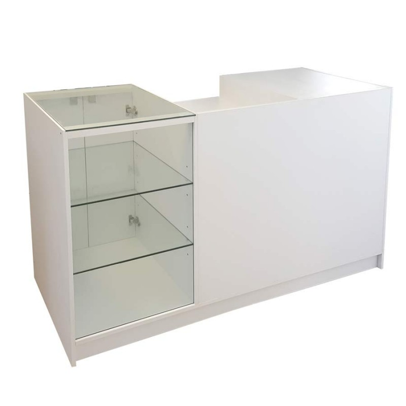 Counter Glass Showcase Combination 1800mm White