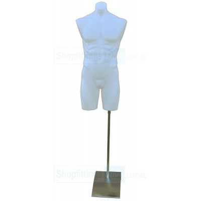 Male Plastic Torso with Base White
