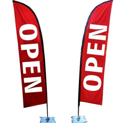 "Outdoor ""OPEN"" - POLYESTER Sale Flag kit - Flag and Base"
