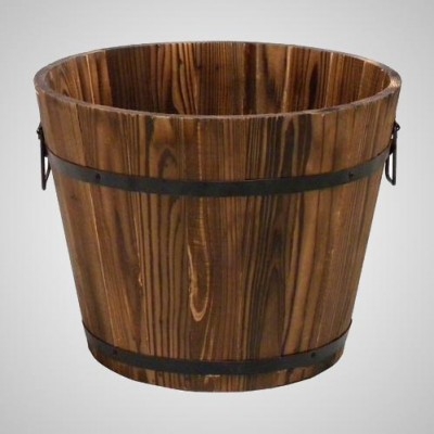 Grocery Display Wood Barrel Small