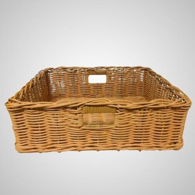 Grocery Display Rectangular Wicker Basket with Handles