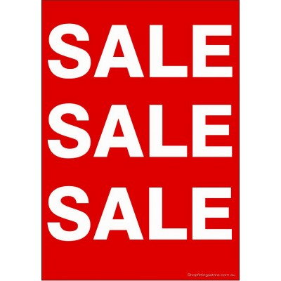 """SALE SALE SALE"" - Sign Cards Pack - A5 or A4 Card 5 Pk"