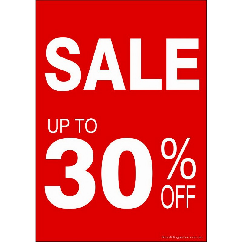 """""""SALE UP TO 30% OFF"""" - Sign Cards A4 - 5 Pack"""