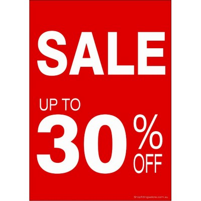 """SALE UP TO 30% OFF"" - Sign Cards A4 - 5 Pack"