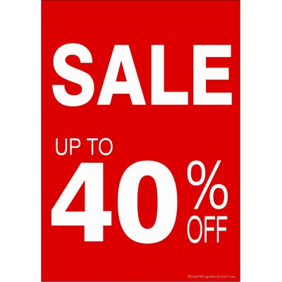 """SALE UP TO 40% OFF"" - Sign Cards A4 - 5 Pack"