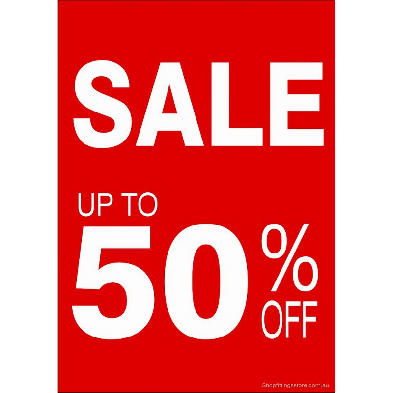 """""""SALE UP TO 50% OFF"""" - Sign Cards A4 - 5 Pack"""