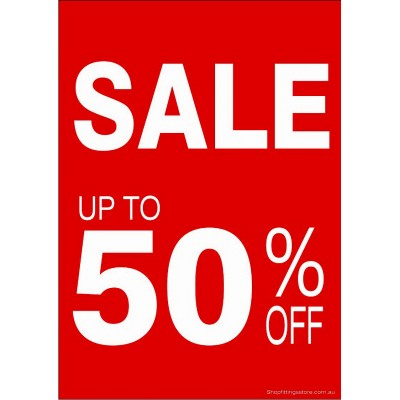 """SALE UP TO 50% OFF"" - Sign Cards A4 - 5 Pack"