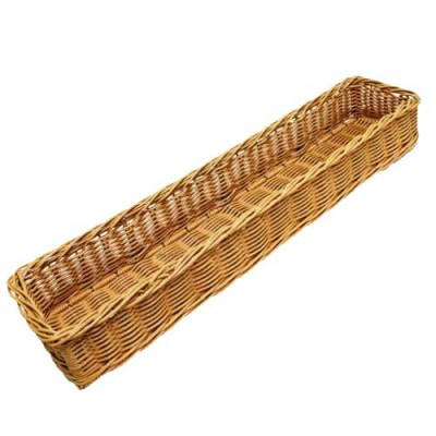 Grocery Display Rectangular Wicker Basket Long Narrow