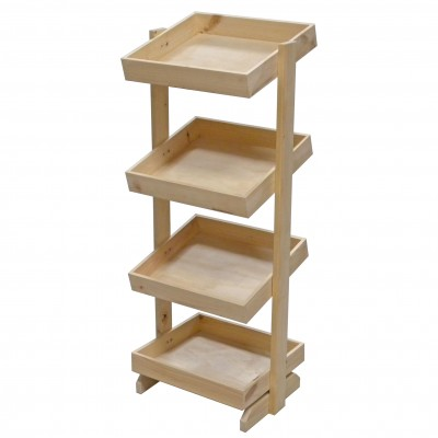 4 Tier Wooden Grocery Display Stand