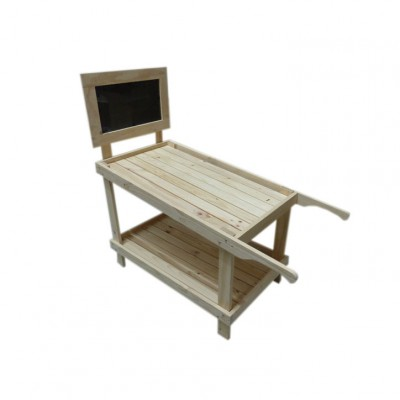 Grocery Display Wooden Cart with Blackboard