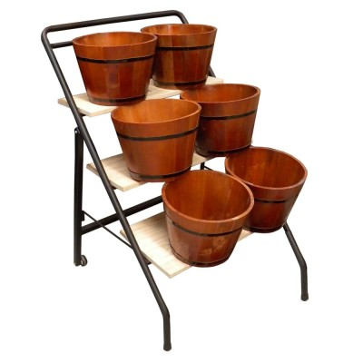 Grocery Display Trolley with 6 Wooden Barrels