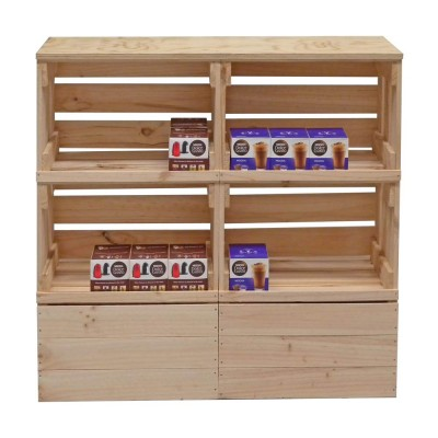 Grocery Display Rustic Wooden Display Hutch