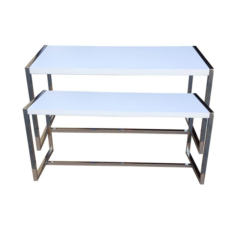 Nesting Tables Set of 2 White Painted