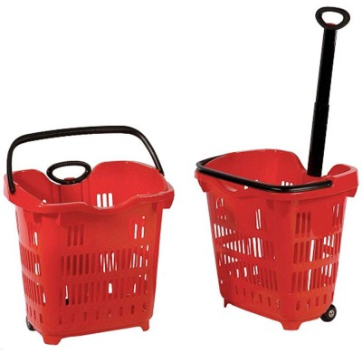 Roller Plastic Shopping Basket 42L Red