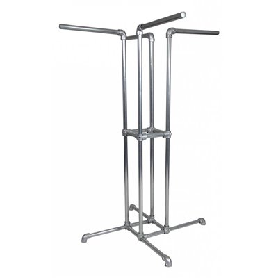 Industrial 4 Way Clothes Rack Galvanised