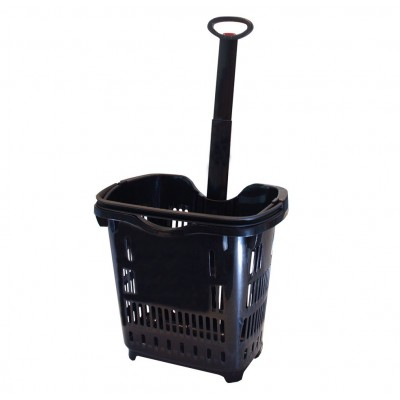 Roller Plastic Shopping Basket 42L BLACK