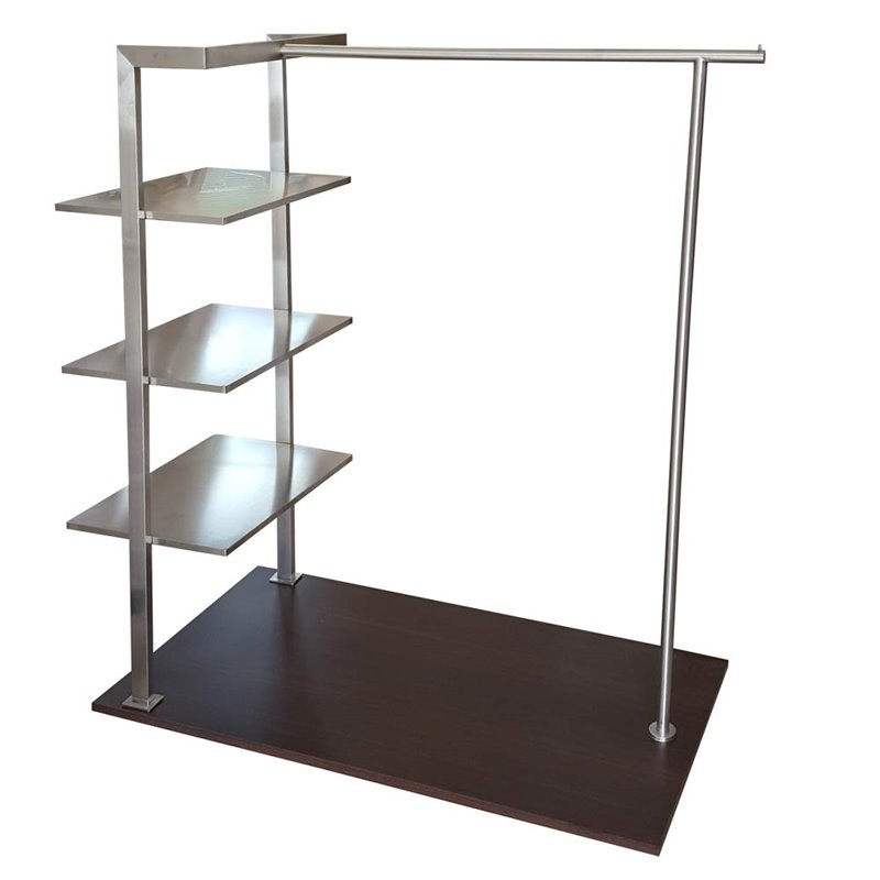 Stainless Steel Single Clothes Rack SS1 With Wooden Base
