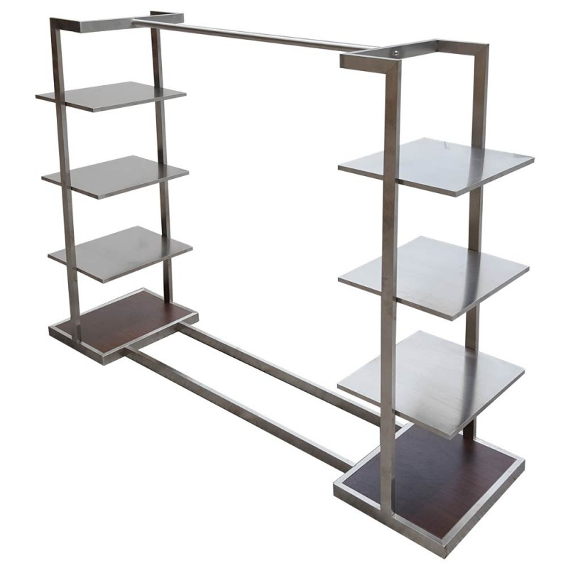 Stainless Steel Single Clothes Rack SS2 With Wooden Base